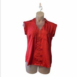 Express Sleeveless Quarter Zip Lightweight Blouse Short Sleeve Top